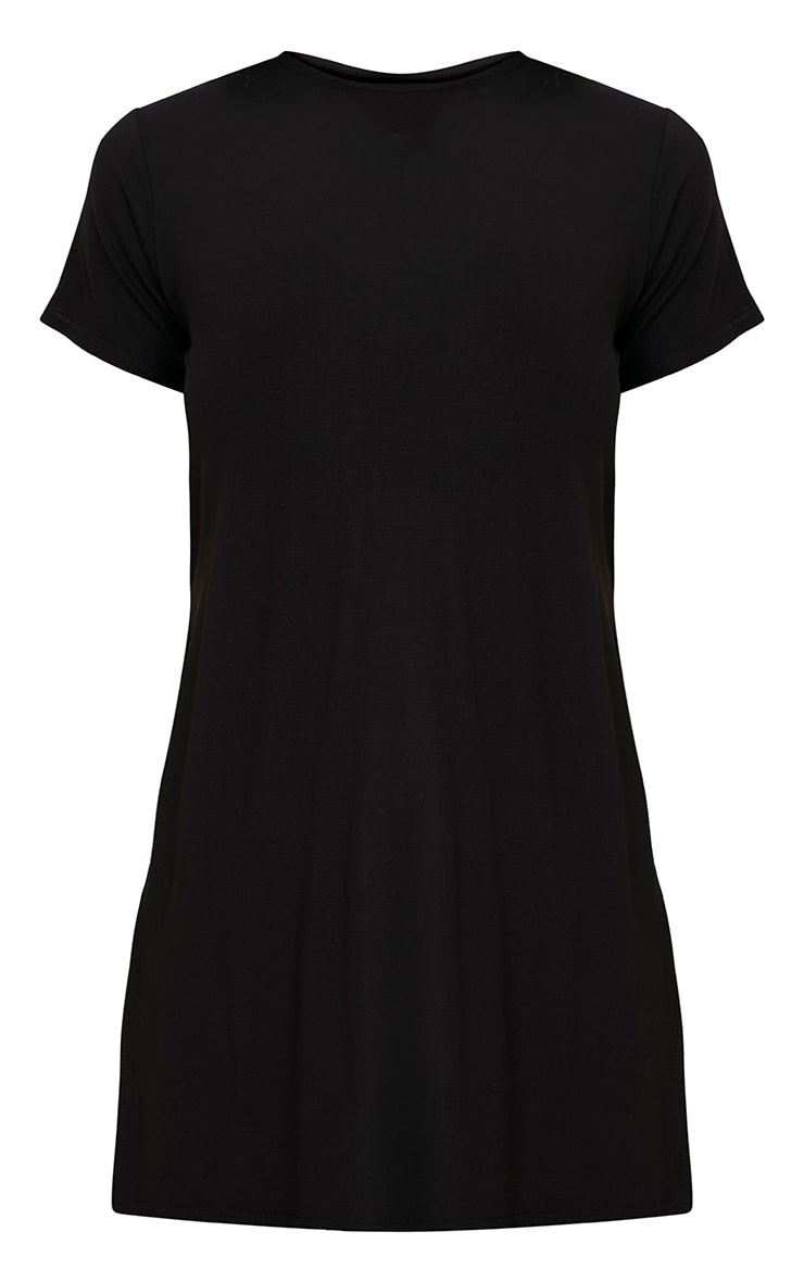 Basic Black Side Split T-Shirt 3