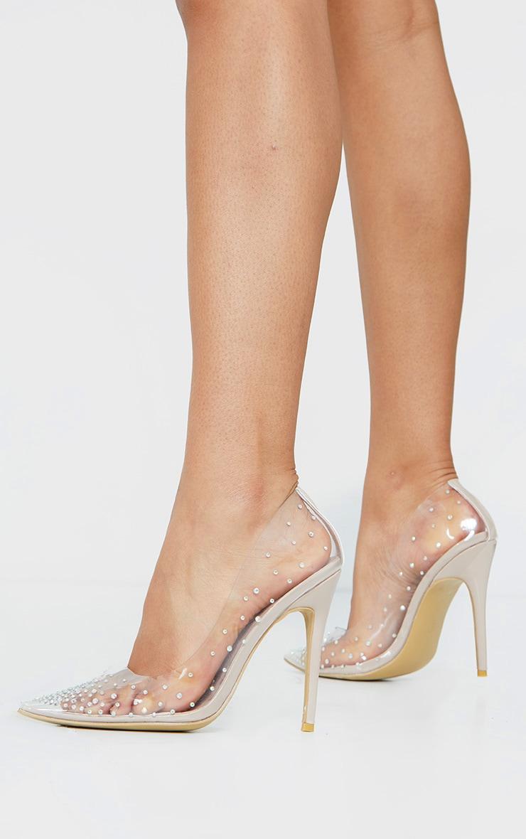 Clear Diamante Court Shoes 1