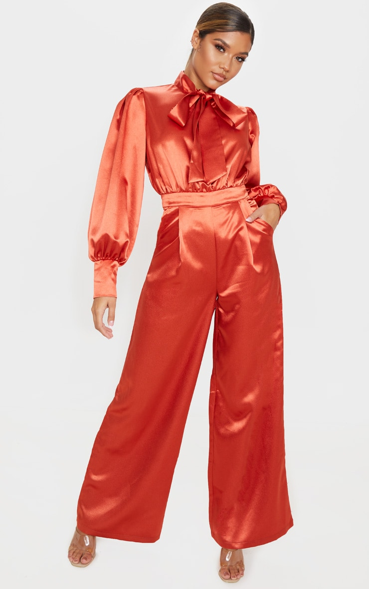Rust Hammered Satin Bow Neck Tie Long Sleeve Jumpsuit 4