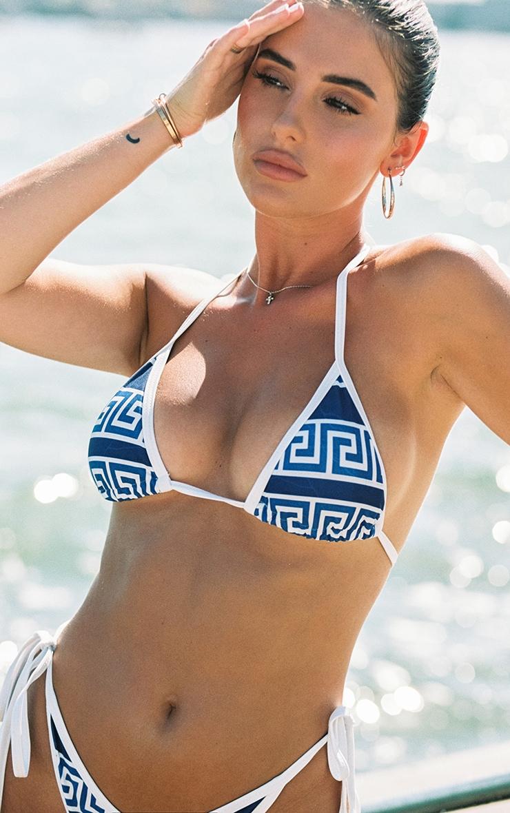 Blue Greek Key Triangle Bikini Top 1