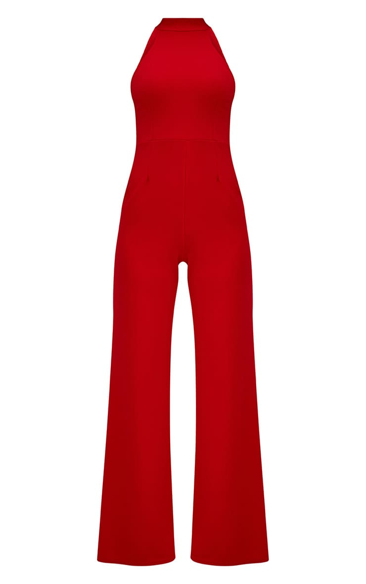 Red Crepe High Neck Jumpsuit 3