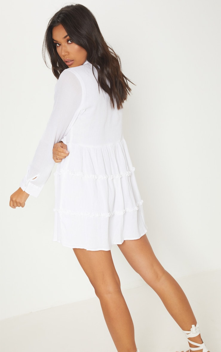White Shirt Layer Frill Dress 2