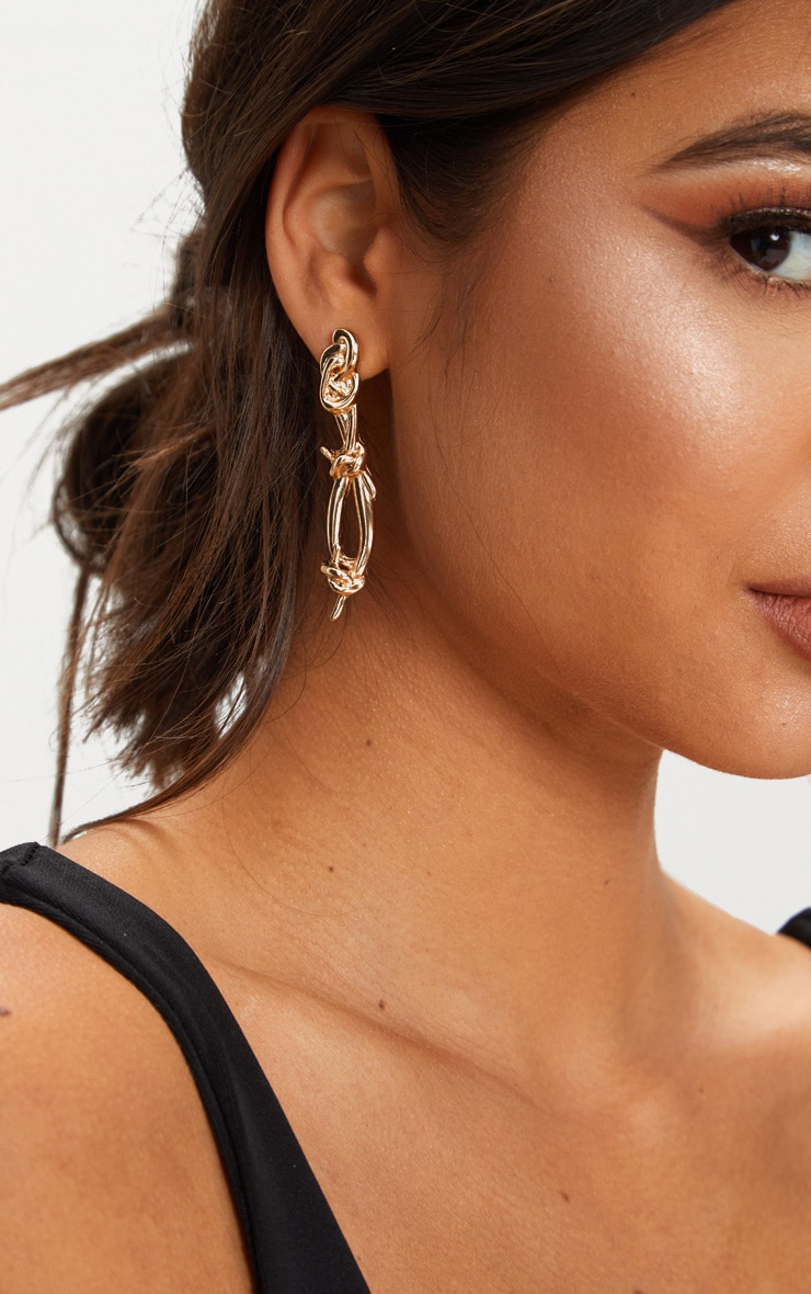Gold Barbed Wire Drop Earrings 2