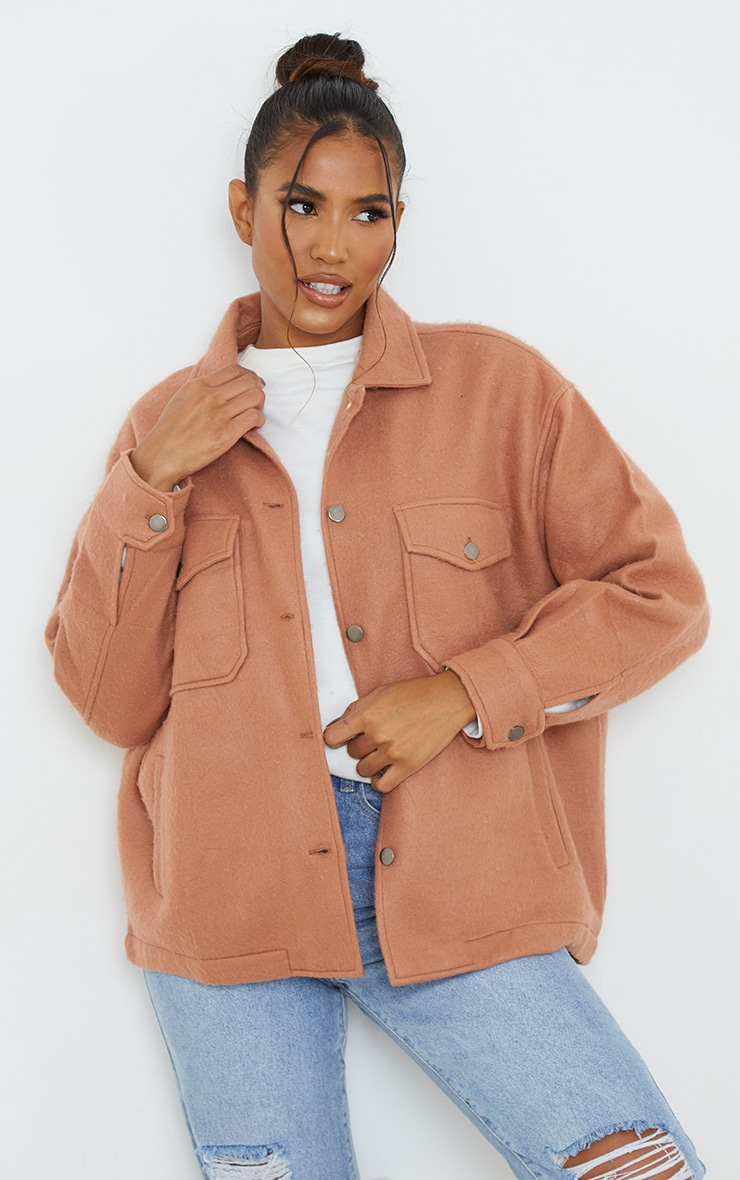 Camel Pocket Front Shacket 1