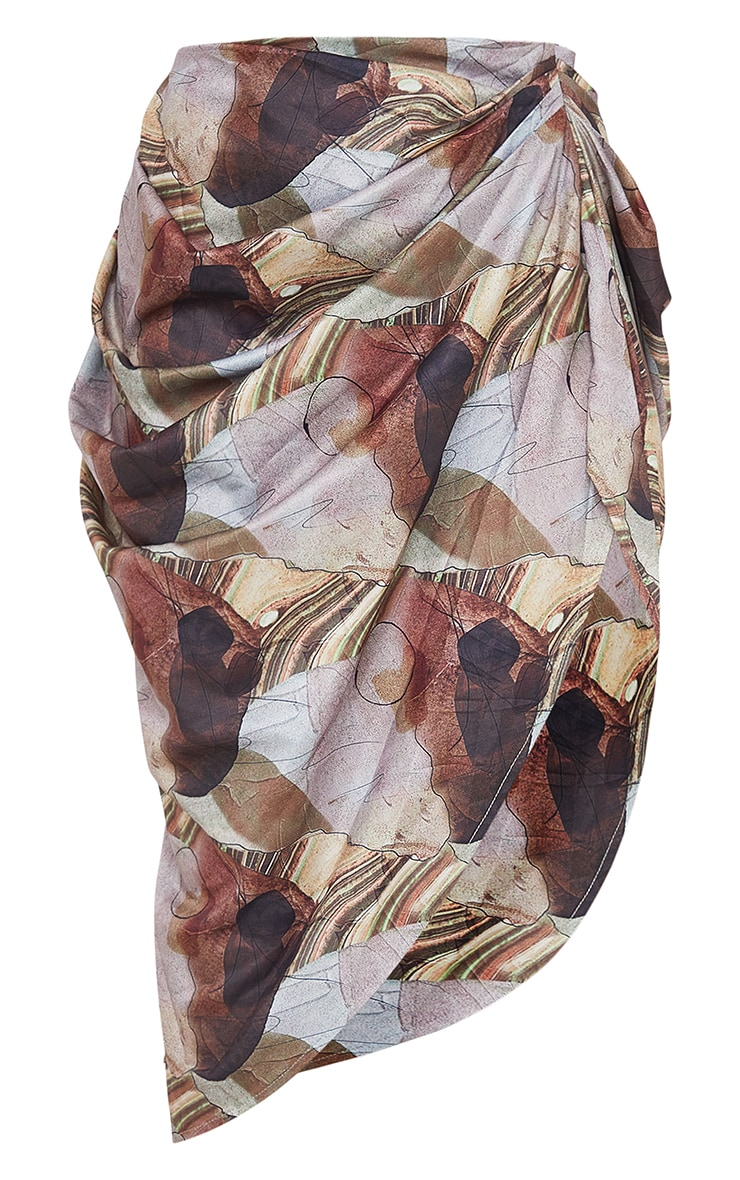 Sand Rust Abstract Print Ruched Midi Skirt 5