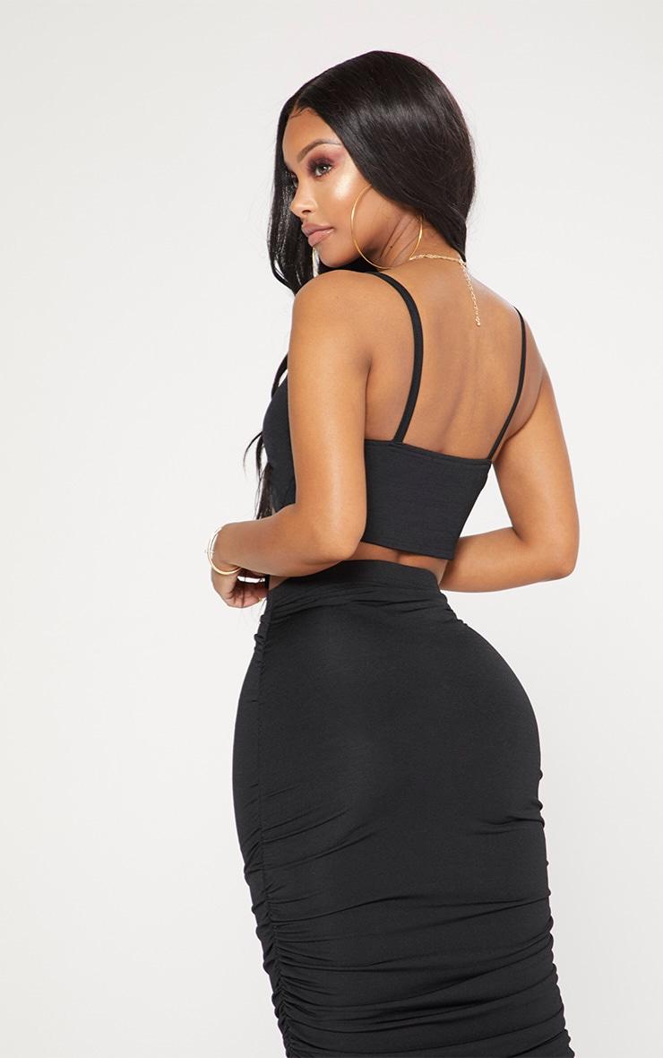Shape Black Slinky Tie Front Crop Top 2
