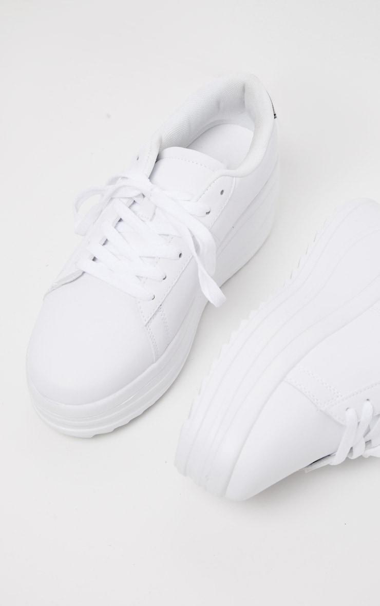 White Chunky Sole Flatform Sneaker 4