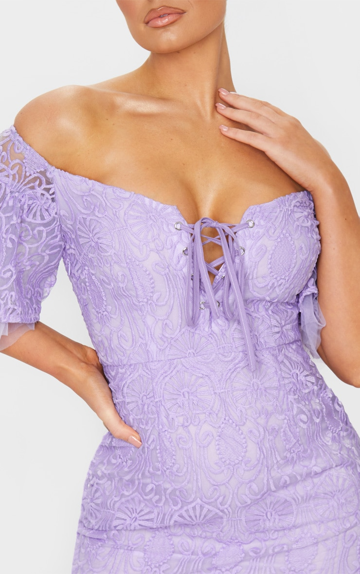 Lilac Embroidered Frill Sleeve Lace Up Bodycon Dress 4