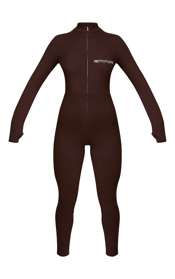 PRETTYLITTLETHING Chocolate Embroidered Zip Front Catsuit 5