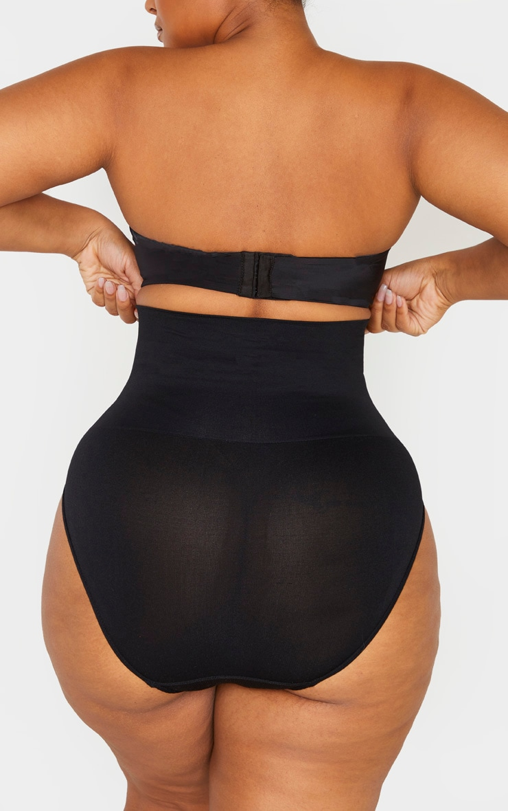 Plus Black Seamless High Waist Control Shapewear Brief 5