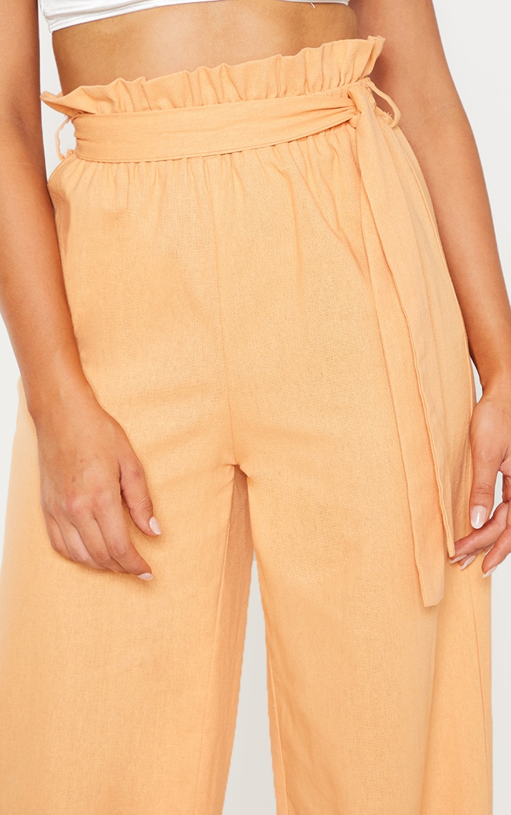 Peach Paperbag Waist Flare Linen Mix Pants 5