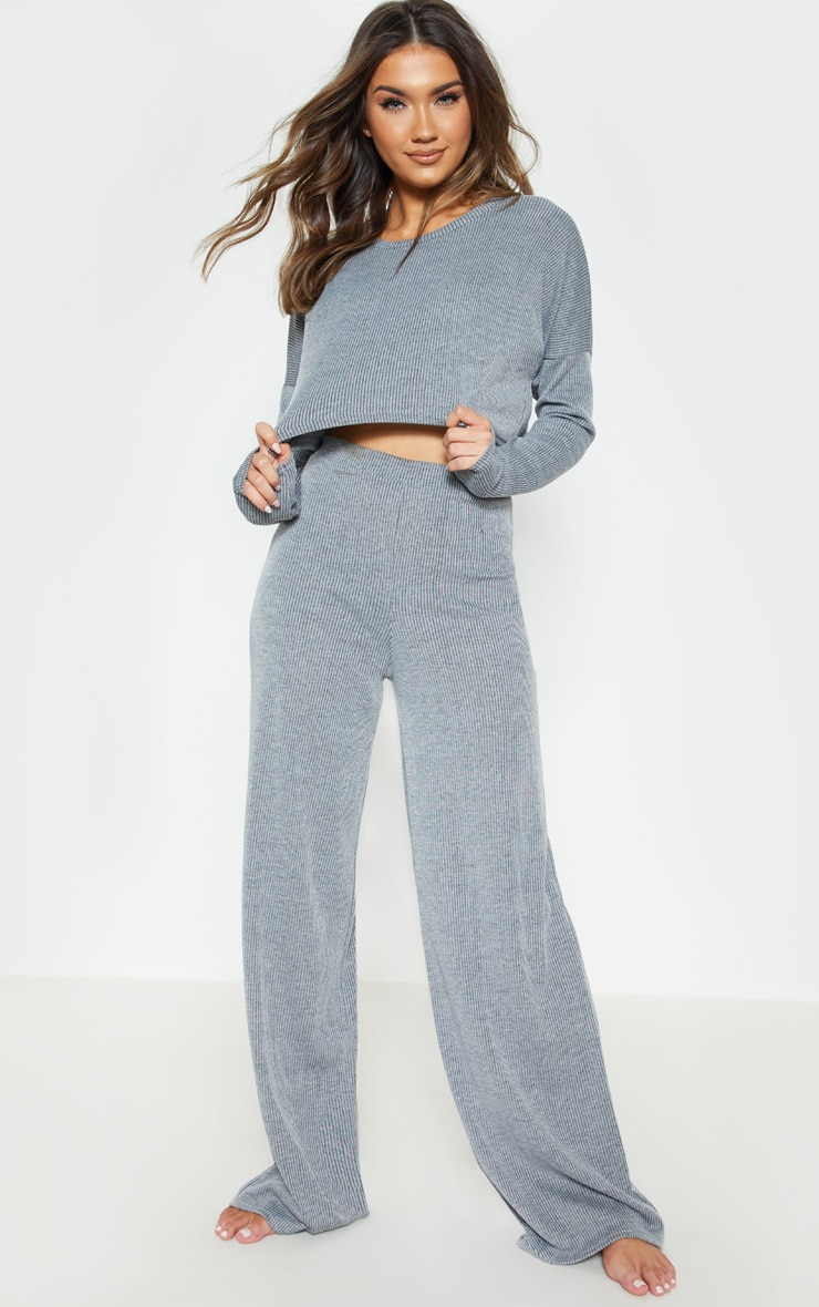 Grey Stripe Wide Leg Lounge Pants 1