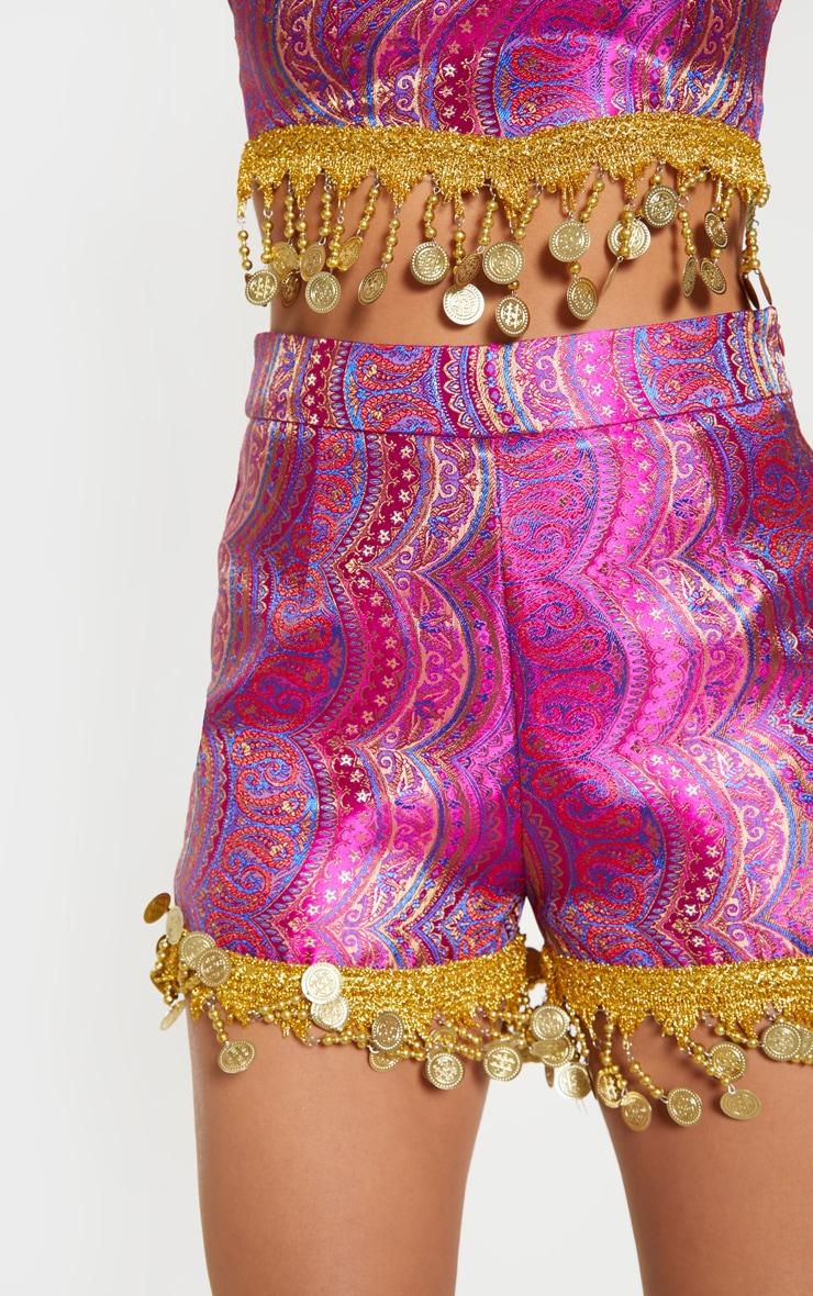 Fuchsia Paisley Coin Trim High Waisted Shorts 6