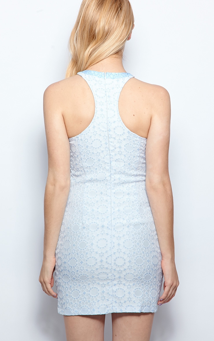 Emmy Pale Blue Daisy Racer Neck Dress 2