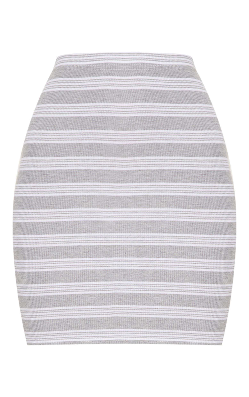 Pale Grey Ribbed Stripe Mini Skirt 3