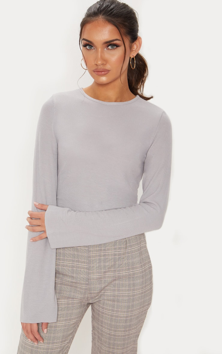 Ice Grey Long Sleeve Rib Crew Neck Crop Top