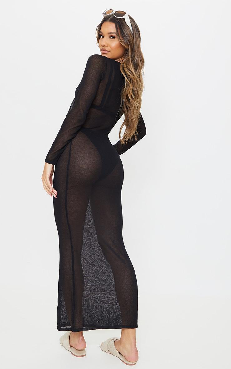 Black Sheer Knit Button Up Maxi Dress 2