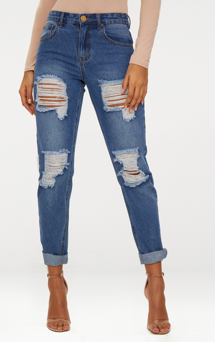 Mid Wash Extreme Ripped Turn Up Mom Jeans 3