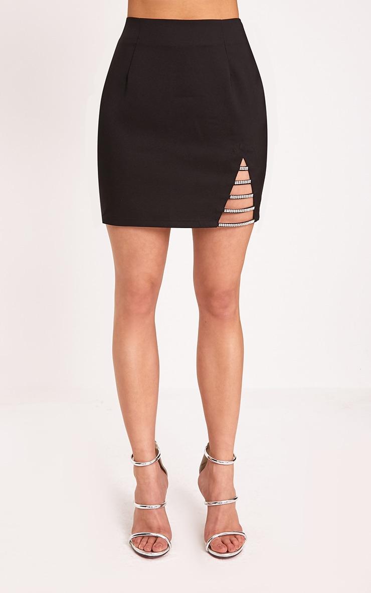 Calista Black Diamond Split Mini Skirt 2