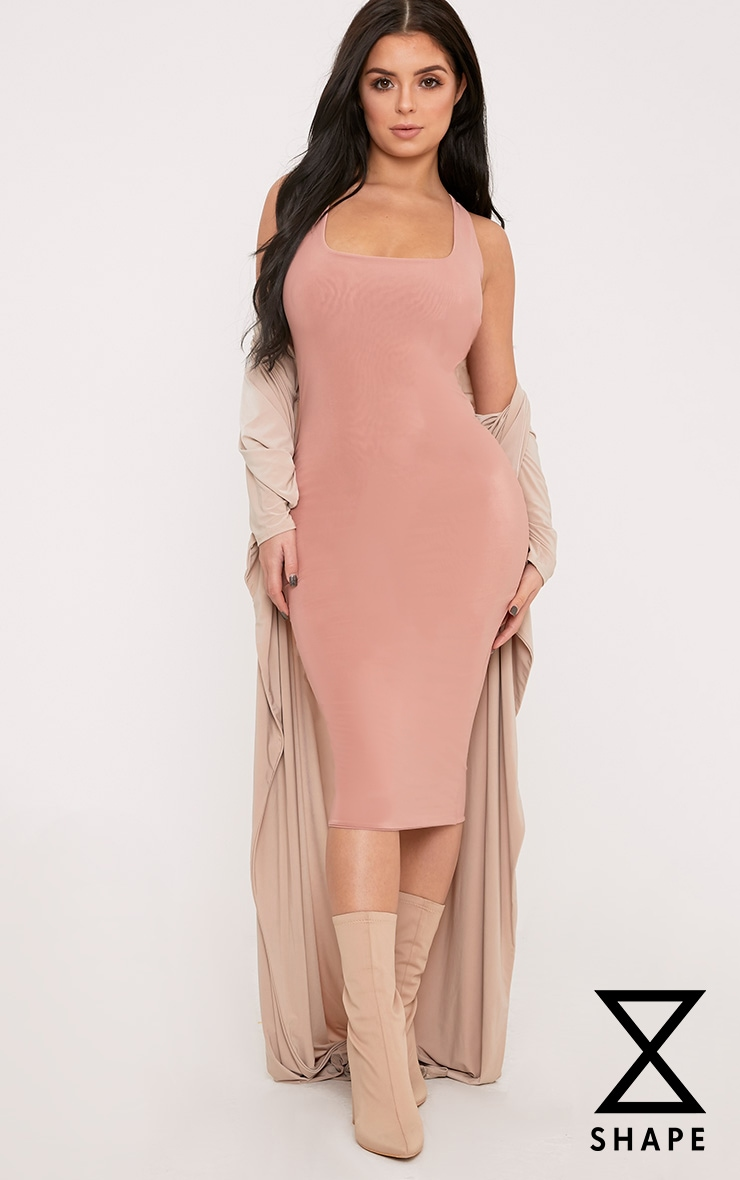 Shape Abrielle Nude Slinky Midi Dress  1