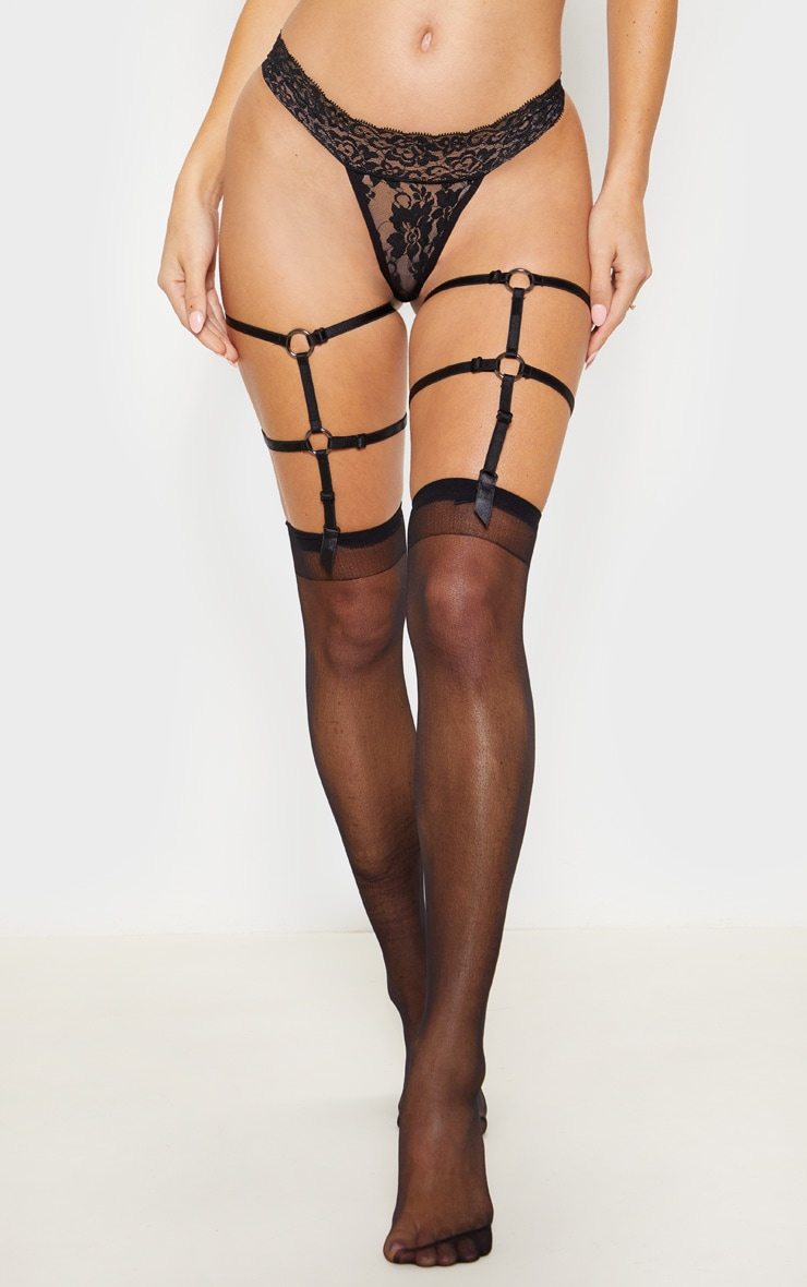Black Lace Thong And Harness Hold Up Set 2