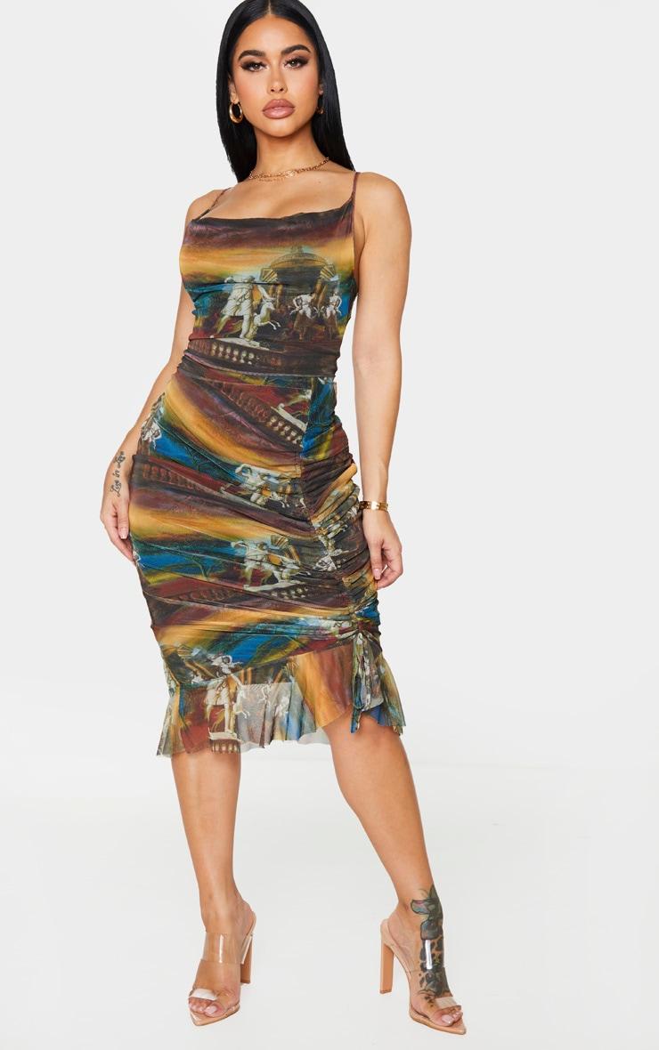 Shape Brown Renaissance Print Mesh Cowl Ruched Midi Dress 1