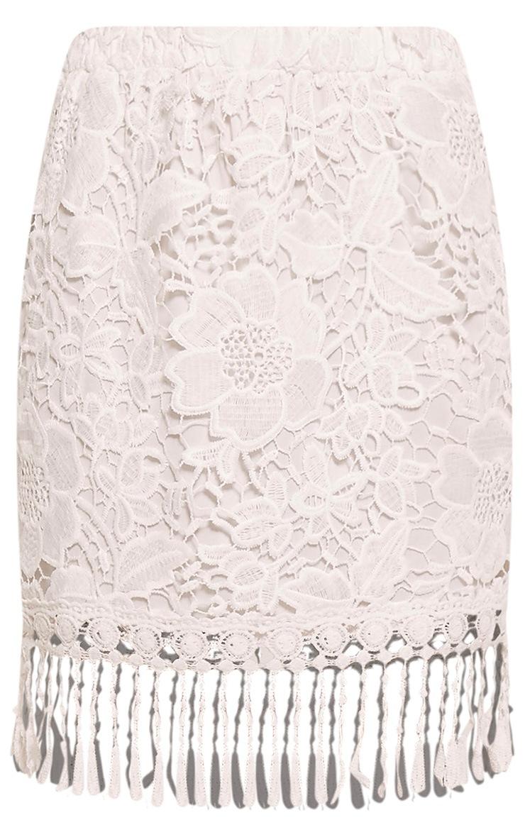 Faithlyn White Tassel Crochet Mini Skirt 3