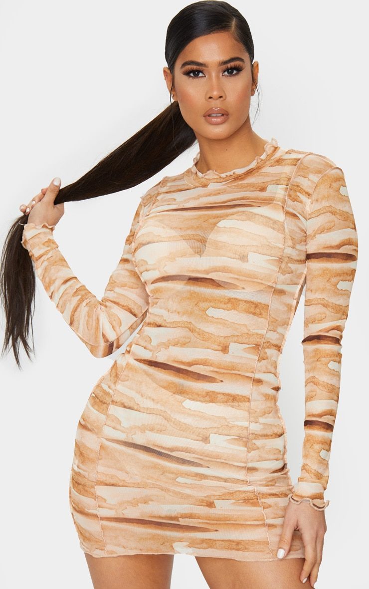 Tan Tie Dye Mesh Frill Edge Detail Bodycon Dress 2