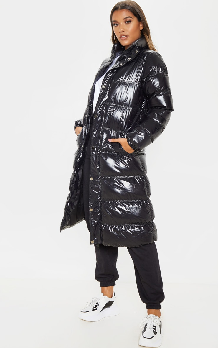 Black Maxi High Shine Fitted Puffer 4