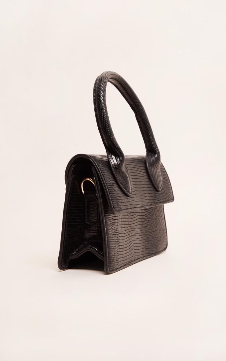 Black Croc Mini Handle Grab Bag 4
