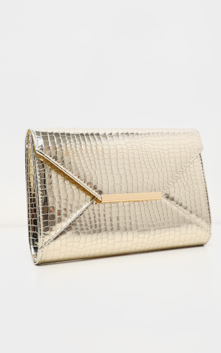 Gold Patent Croc Envelope Clutch 3