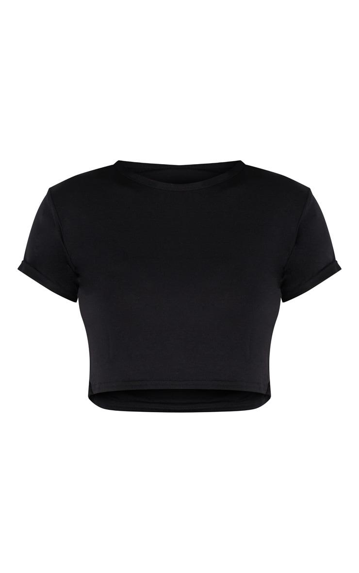 Tall Black Basic Roll Sleeve Crop T Shirt  3