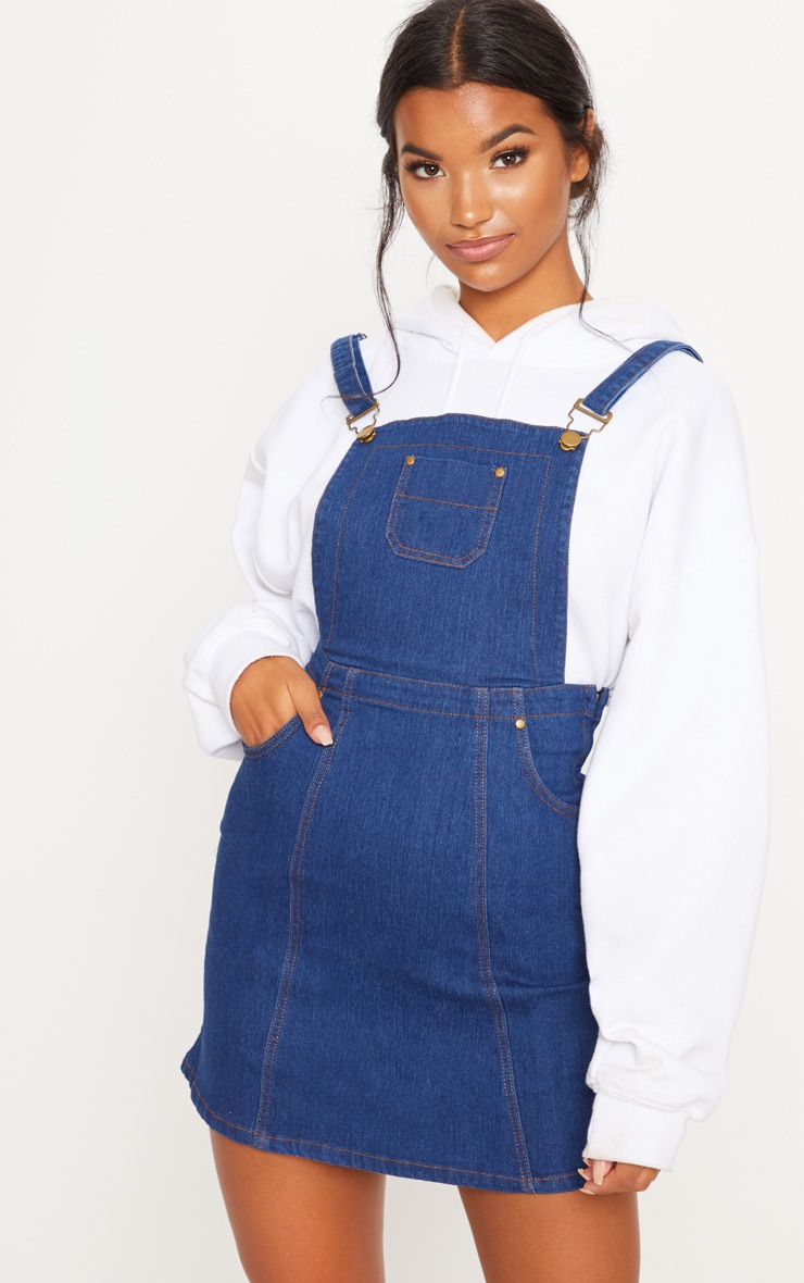Martine Indigo Blue Denim Pinafore Dress 1