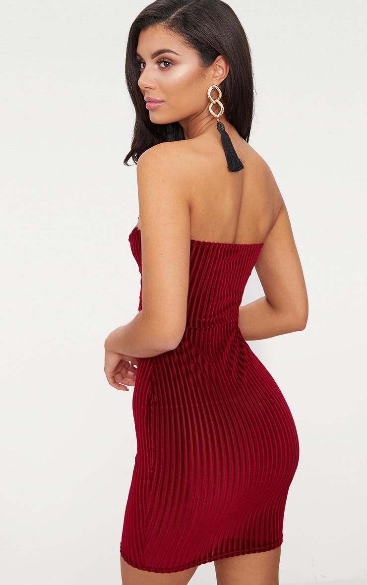 Burgundy Velvet Stripe Bandeau V Plunge Bodycon Dress 2