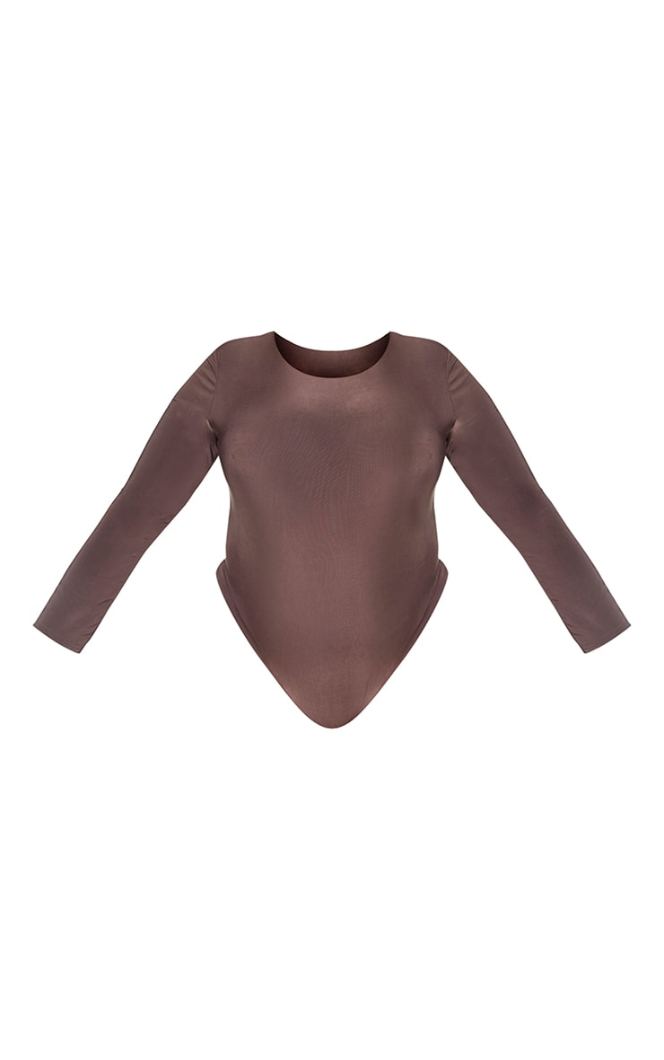 Plus Dark Brown Slinky Crew Neck Long Sleeve Bodysuit 5