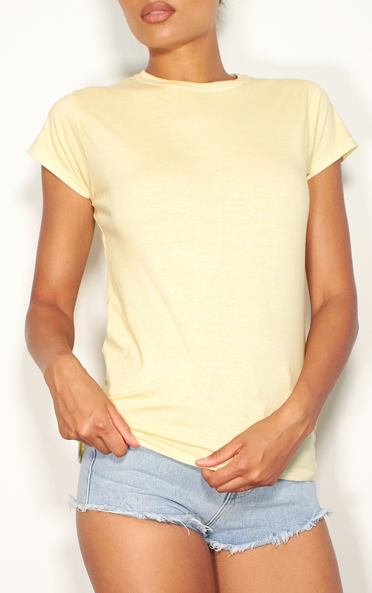 Yellow Washed Fitted T Shirt 4
