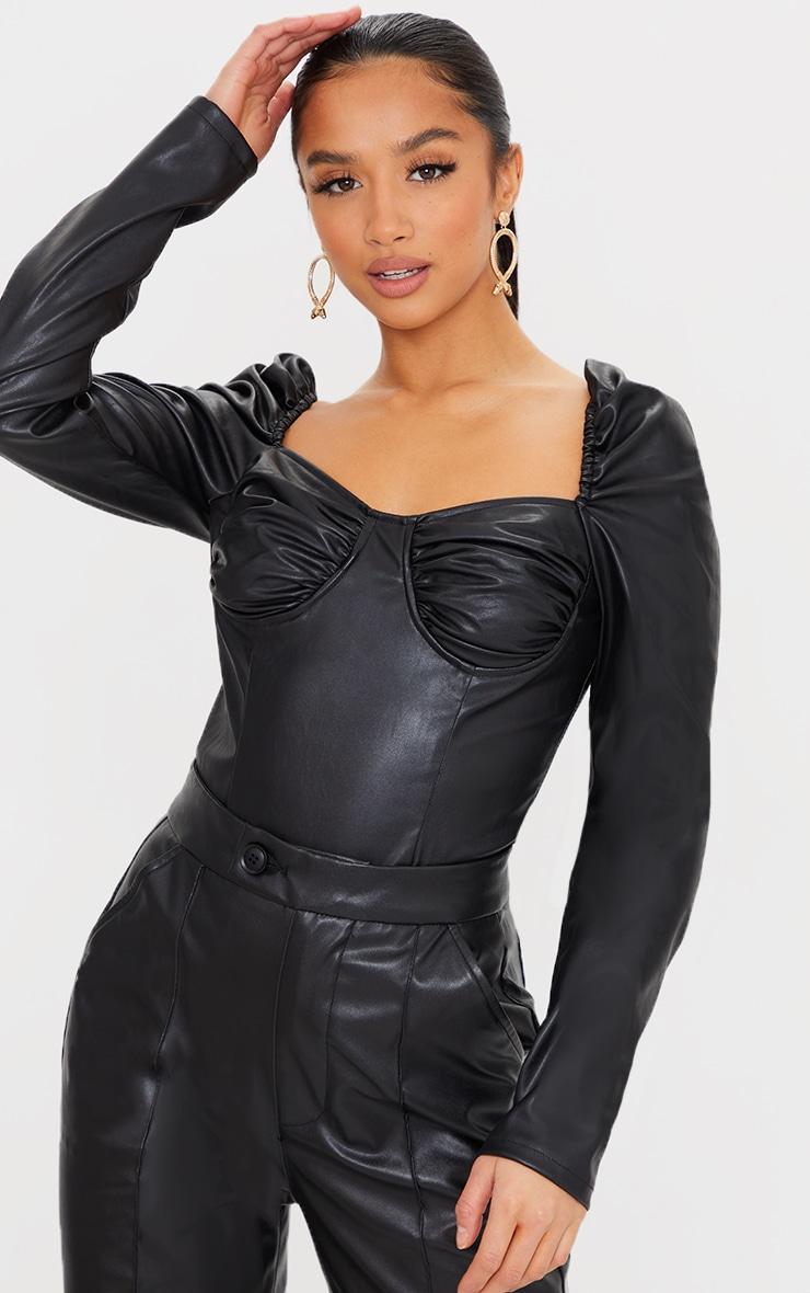 Petite Black PU Ruched Corset Bodysuit 1