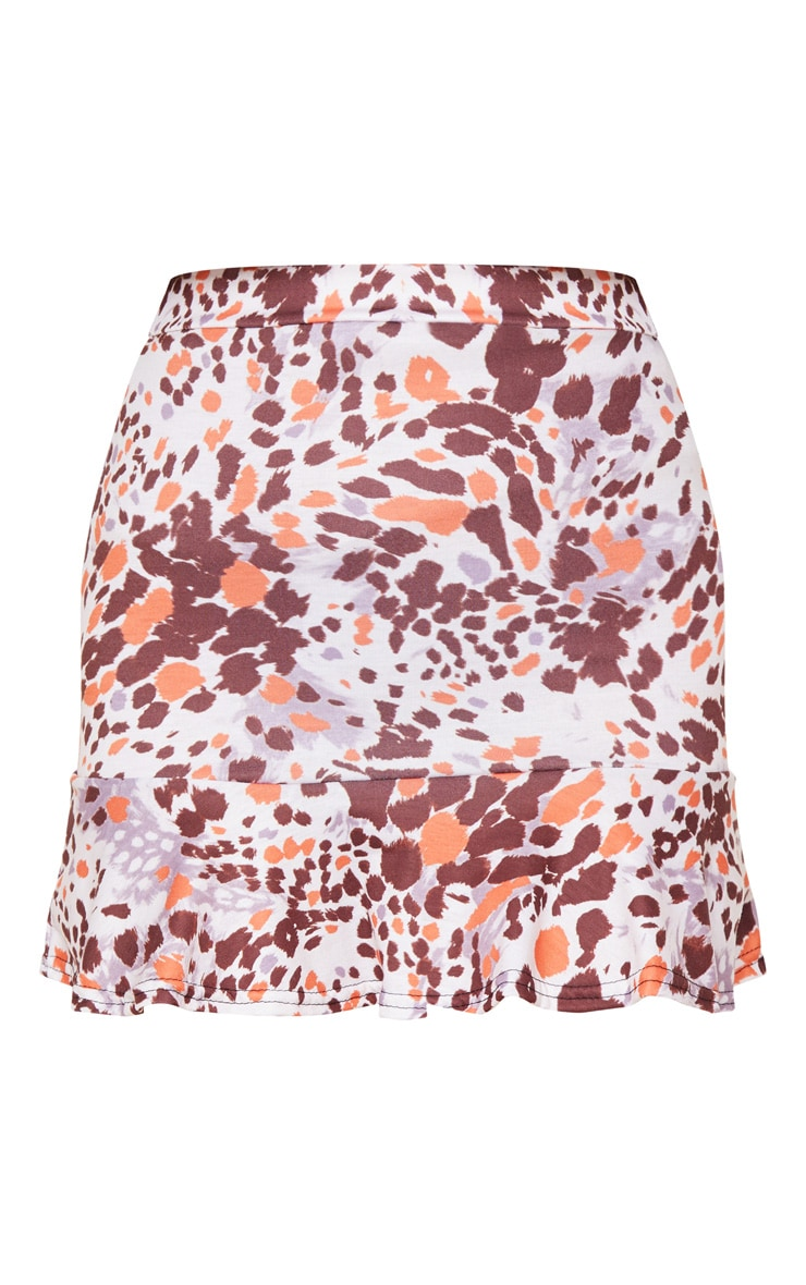 Beige Abstract Animal Print Flippy Hem Mini Skirt 3
