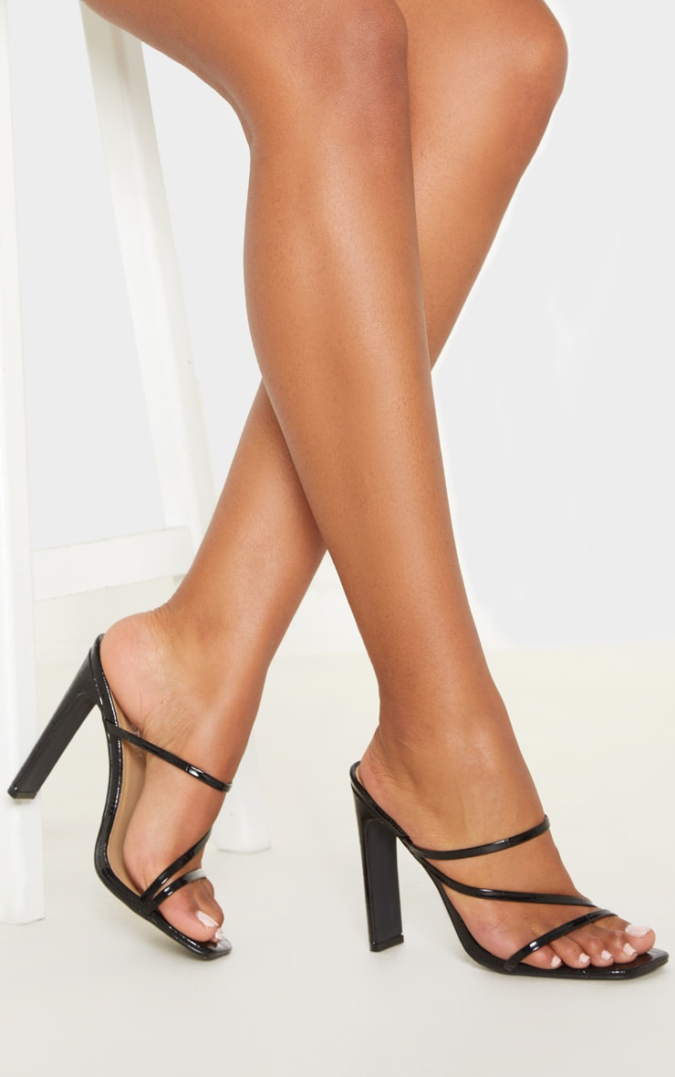 Black Wide Fit Square Toe Flat Heel Strappy Mule 1