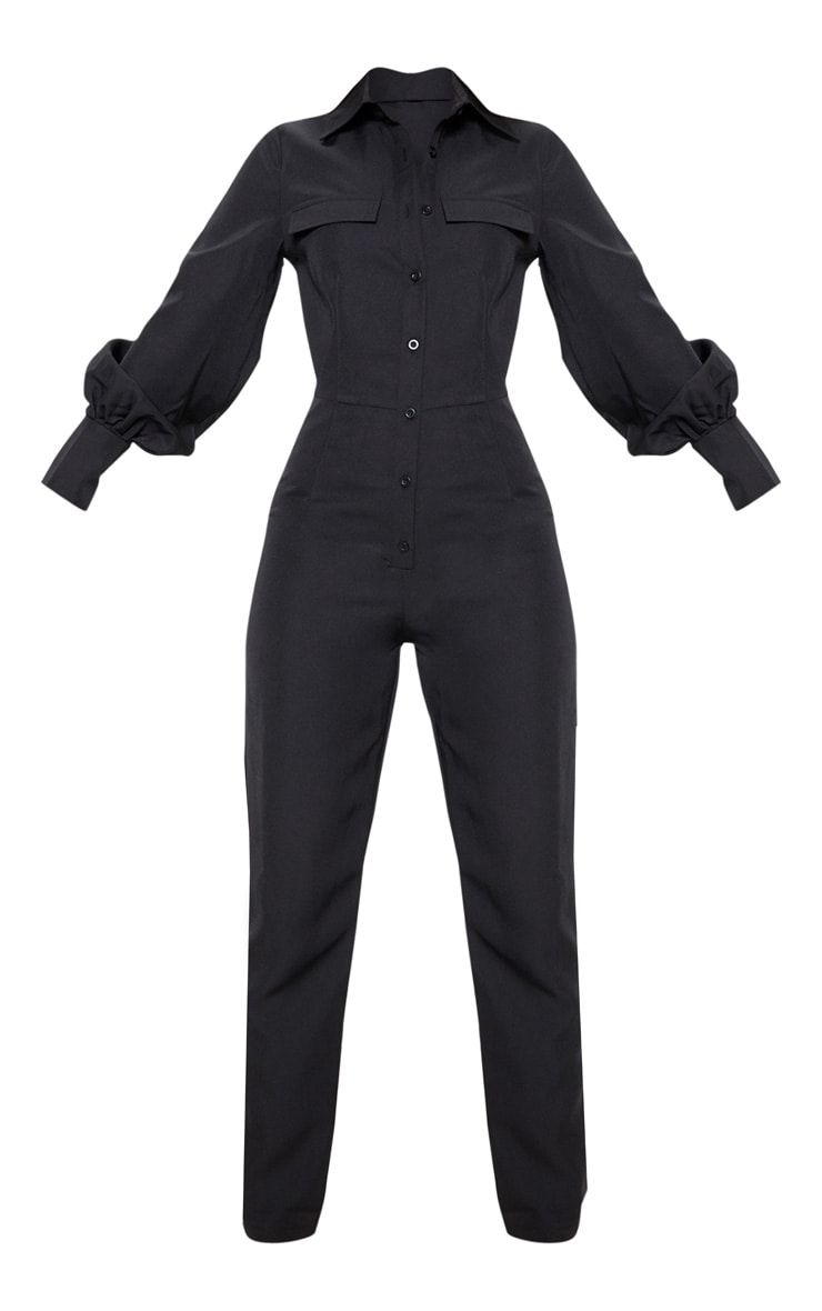 Petite Black Full Sleeve Pocket Detail Jumpsuit 3