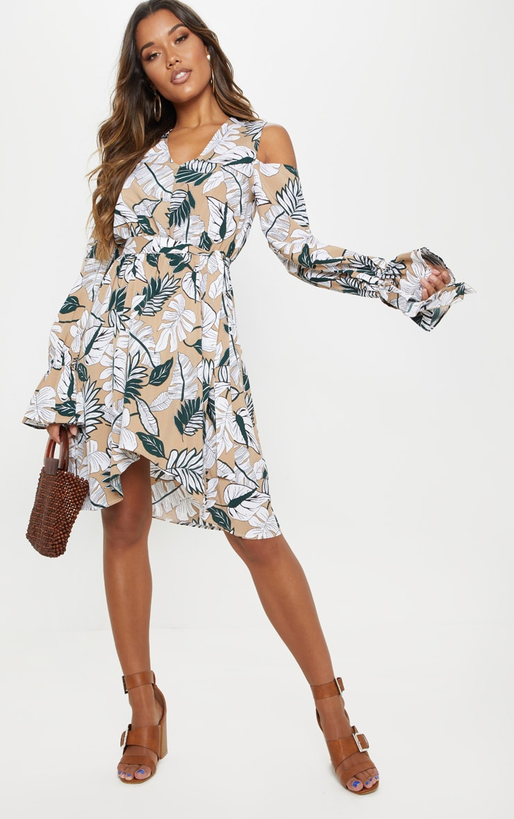 White Floral Print Cold Shoulder Frill Midi Dress 1