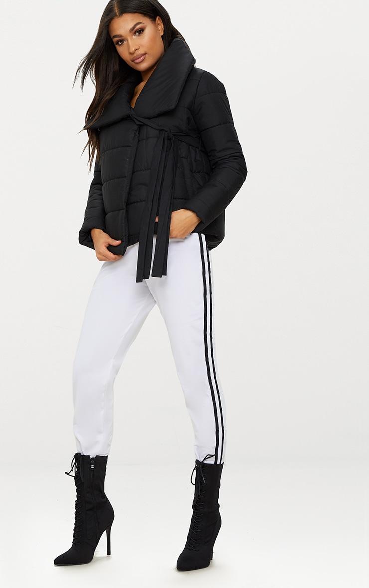 Black Wrap Tie Puffer Jacket 1