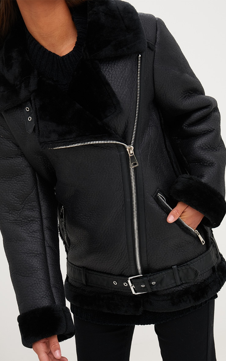 Black PU Aviator Jacket 5