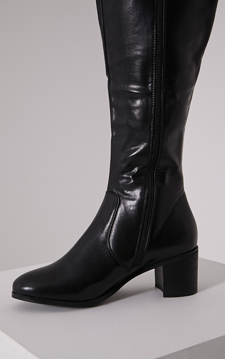 Cally Black Faux Leather Thigh High Over Knee Boots 6