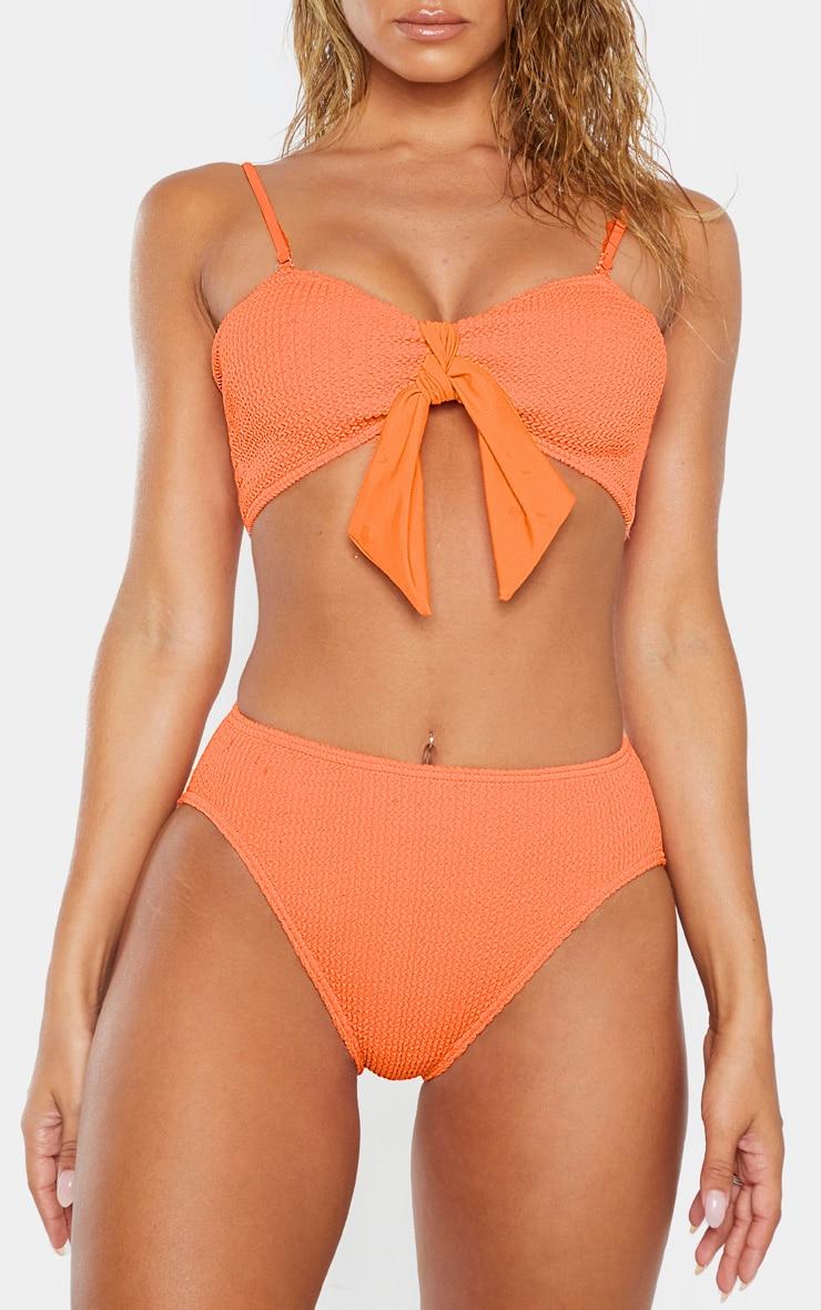 Bas de bikini corail froncé à taille haute 1