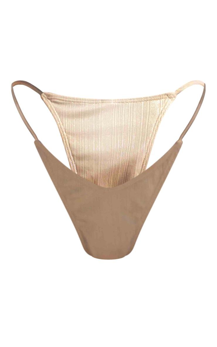 Rose Gold High Shine Tanga Bikini Bottoms 5