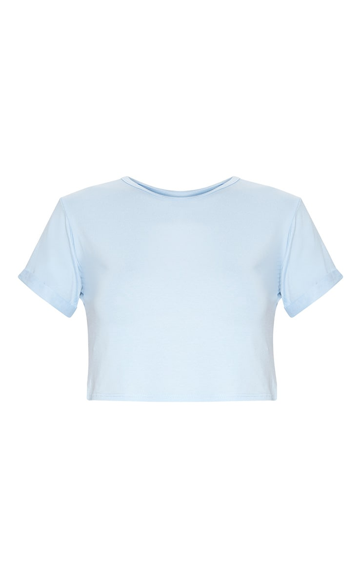Basic Baby Blue Roll Sleeve Crop T Shirt 3