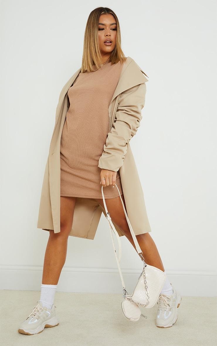 Stone Ribbed Oversized Boyfriend Jumper Dress 3