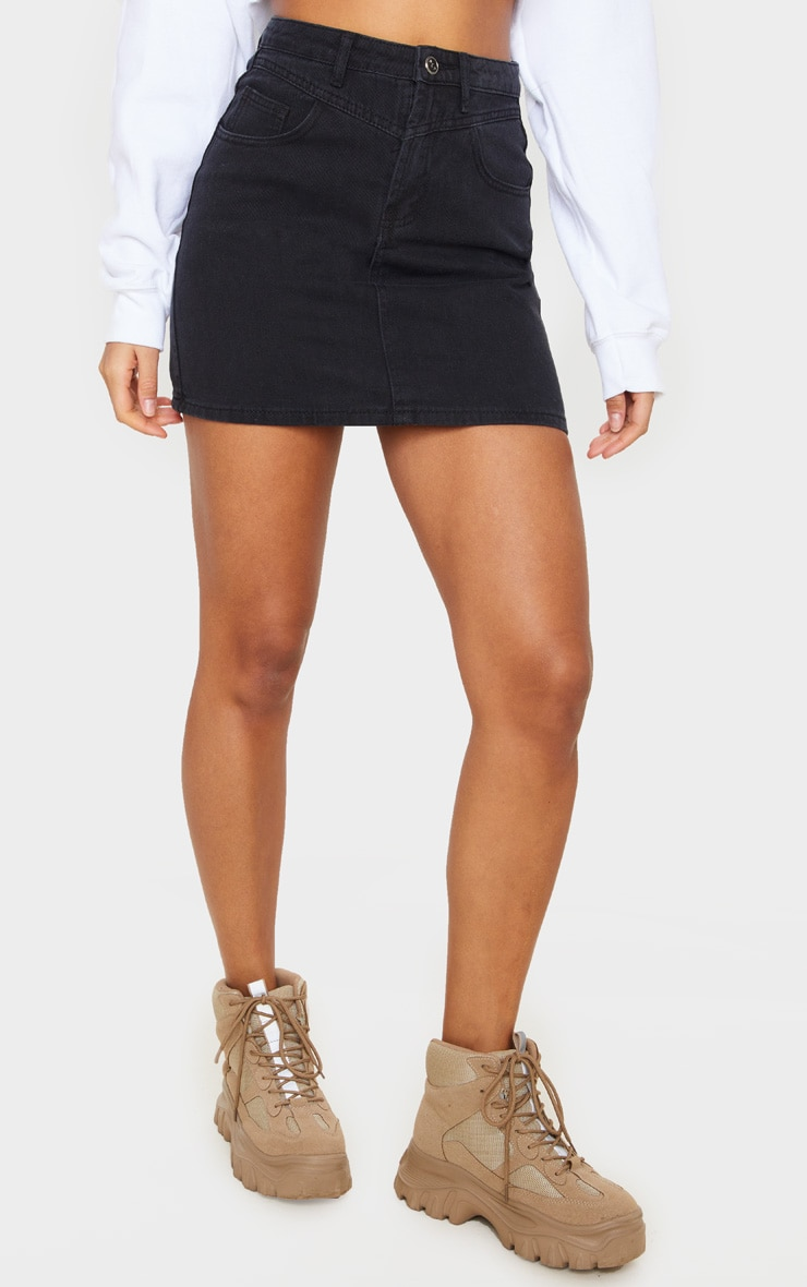 Black V Panel Black Denim Skirt 2