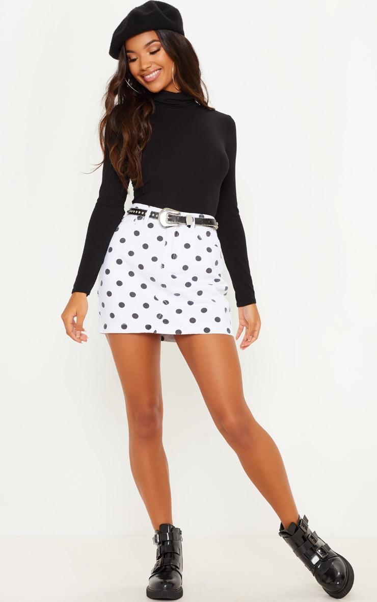 Monochrome Basic Spot Print Denim Skirt  5